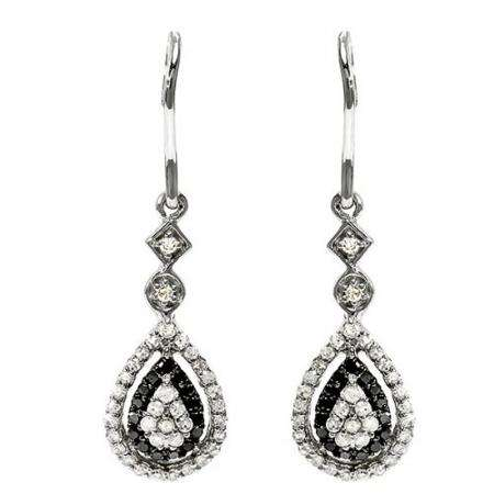 0.60 Carat (ctw) Sterling Silver Round Black & White Diamond Ladies Dangling Drop Earrings