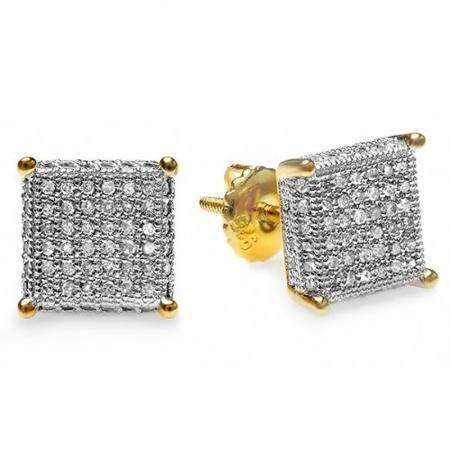 0.55 Carat (ctw) 18k Yellow Gold Plated Sterling Silver Round Diamond Dice Shape Ice Cube Men