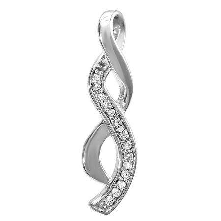 0.07 Carat (ctw) Sterling Silver White Round Diamond Ladies Infinity Pendant (Chain Not Included)