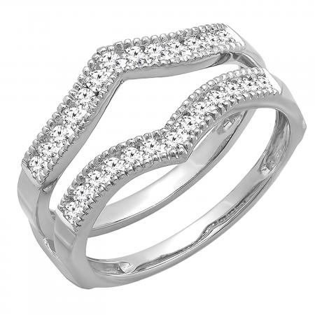 0.45 Carat (ctw) Round Diamond Ladies Wedding Enhancer Guard Double Ring 1/2 CT, 10K White Gold