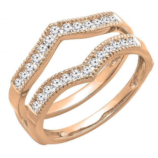 0.45 Carat (ctw) Round Diamond Ladies Wedding Enhancer Guard Double Ring 1/2 CT, 18K Rose Gold