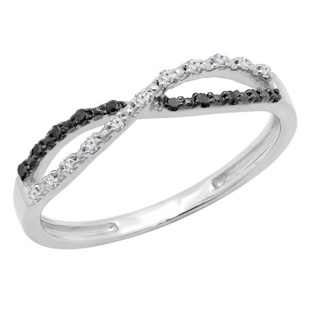 0.10 Carat (ctw) White and Black Diamond Ladies Infinity Swirl Wedding Band 1/10 CT, 10K White Gold