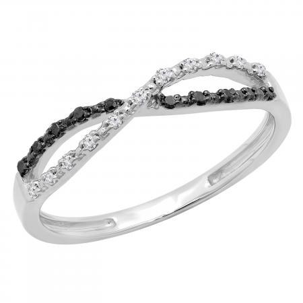 0.10 Carat (ctw) White and Black Diamond Ladies Infinity Swirl Wedding Band 1/10 CT, 14K White Gold