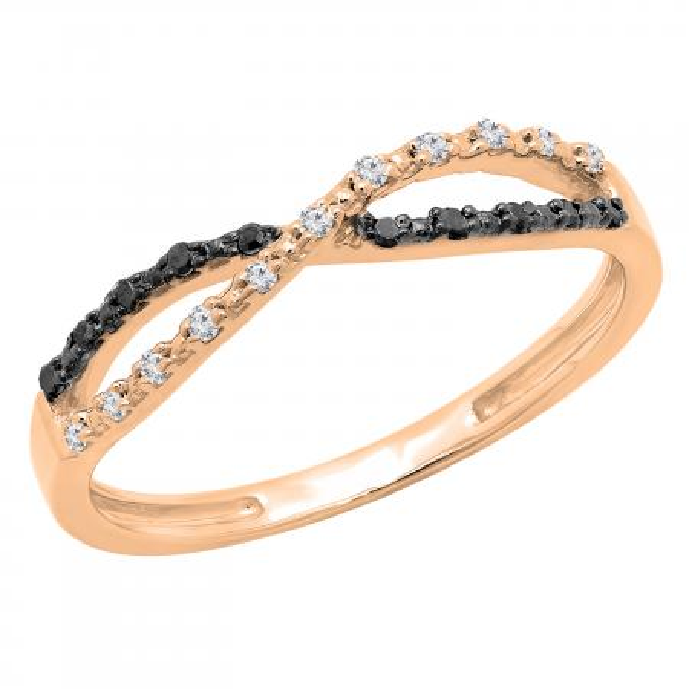 0.10 Carat (ctw) White and Black Diamond Ladies Infinity Swirl Wedding Band 1/10 CT, 18K Rose Gold