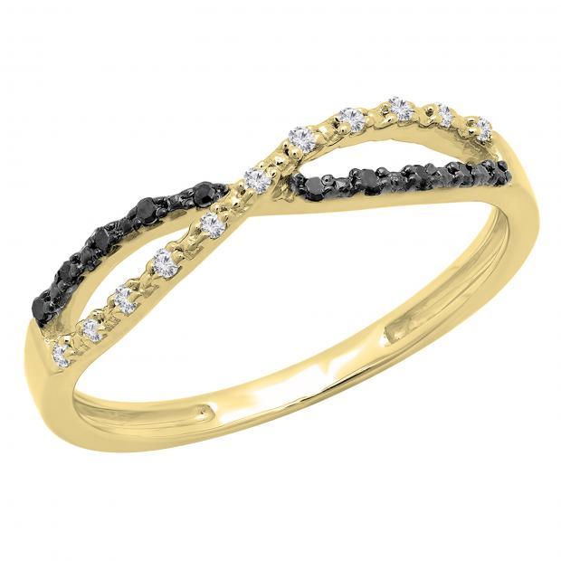 0.10 Carat (ctw) White and Black Diamond Ladies Infinity Swirl Wedding Band 1/10 CT, 18K Yellow Gold