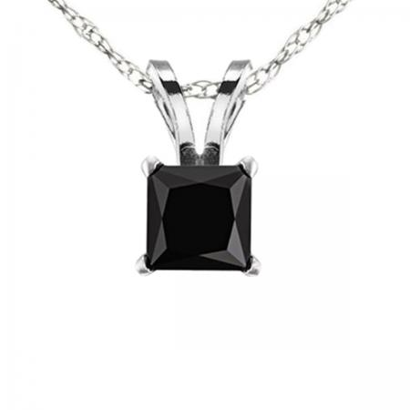 1.00 Carat (ctw) 14k White Gold Princess Cut Black Diamond Ladies Solitaire Pendant 1 CT