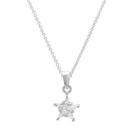 0.20 Carat (ctw) 14k White Gold Kite Noble Cut Diamond Ladies 5 Stone Star Shaped Cluster Pendant 1/5 CT