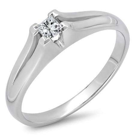0.05 Carat (ctw) 10k White Gold Princess Cut Diamond Ladies Split Shank Solitaire Bridal Promise Ring
