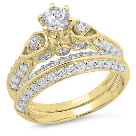 1.50 Carat (ctw) 14K Yellow Gold Round Diamond Ladies 3 Stone Bridal Engagement Ring Set 1 1/2 CT