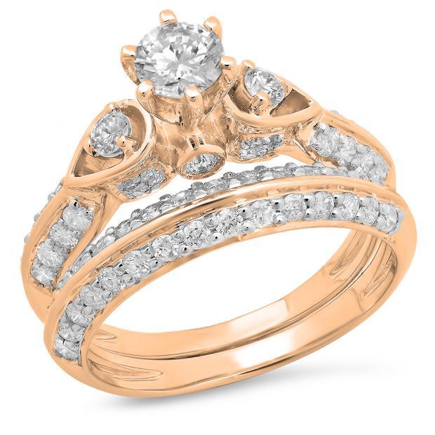 1.50 Carat (ctw) 18K Rose Gold Round Diamond Ladies 3 Stone Bridal Engagement Ring Set 1 1/2 CT