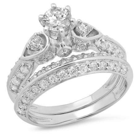 1.50 Carat (ctw) 18K White Gold Round Diamond Ladies 3 Stone Bridal Engagement Ring Set 1 1/2 CT