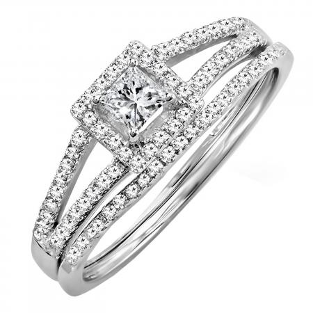 0.45 Carat (ctw) 18K White Gold Princess & Round Diamond Ladies Square Split Shank Halo Bridal Engagement Ring Set 1/2 CT