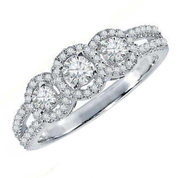 0.50 Carat (ctw) 10k White Gold Round Diamond Ladies 3 Stone Split Shank Engagement Bridal Ring 1/2 CT