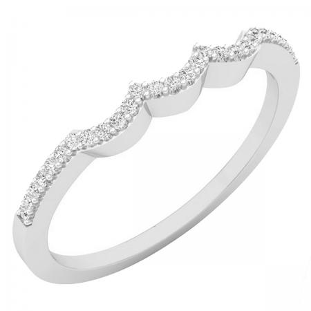0.10 Carat (ctw) 18K White Gold Round Cut White Diamond Ladies Anniversary Wedding Stackable Band Contour Guard Ring 1/10 CT