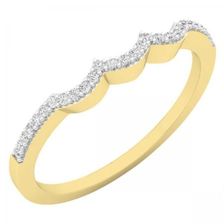 0.10 Carat (ctw) 18K Yellow Gold Round Cut White Diamond Ladies Anniversary Wedding Stackable Band Contour Guard Ring 1/10 CT