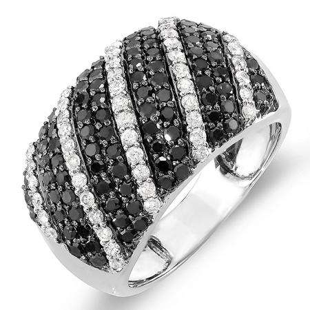 1.55 Carat (ctw) 10k White Gold Black & White Round Diamond Ladies Cocktail Right Hand Ring 1 1/2 CT