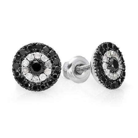 1.00 Carat (ctw) Sterling Silver Black & White Round Cut Diamond Circles Stud Earrings 1 CT