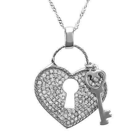 0.75 Carat (ctw) Sterling Silver Round White Diamond Ladies Heart & Key Pendant 3/4 CT