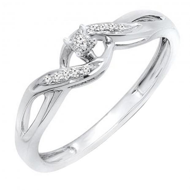 0.06 Carat (ctw) Round White Diamond Ladies Crossover Swirl Promise Engagement Ring, 10K White Gold