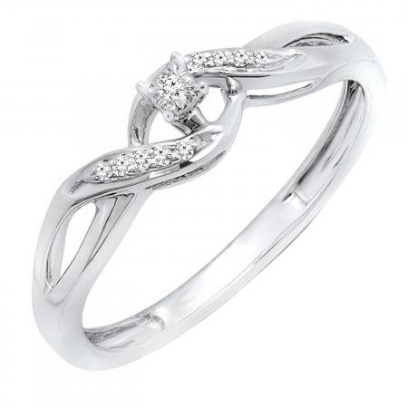 0.06 Carat (ctw) Round White Diamond Ladies Crossover Swirl Promise Engagement Ring, 14K White Gold