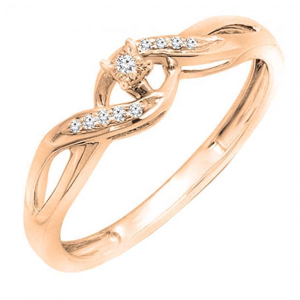 0.06 Carat (ctw) Round White Diamond Ladies Crossover Swirl Promise Engagement Ring, 18K Rose Gold