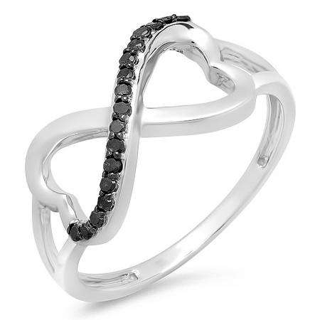 0.15 Carat (ctw) 18k White Gold Round Black Diamond Ladies Two Double Heart Infinity Love Engagement Promise Ring