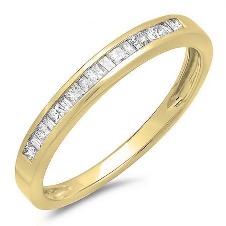 0.25 Carat (ctw) 10K Yellow Gold Princess and Baguette Cut White Diamond Ladies Anniversary Wedding Stackable Ring Band 1/4 CT