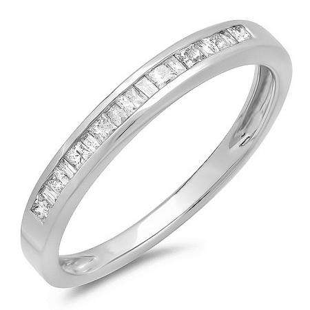 0.25 Carat (ctw) 14K White Gold Princess and Baguette Cut White Diamond Ladies Anniversary Wedding Stackable Ring Band 1/4 CT