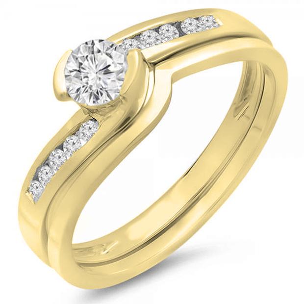 0.50 Carat (ctw) 14K Yellow Gold Round Diamond Ladies Bridal Engagement Ring Set Matching Band 1/2 CT