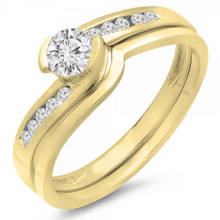 0.50 Carat (ctw) 18K Yellow Gold Round Diamond Ladies Bridal Engagement Ring Set Matching Band 1/2 CT