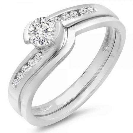0.50 Carat (ctw) 14k White Gold Round Diamond Ladies Bridal Engagement Ring Set Matching Band 1/2 CT