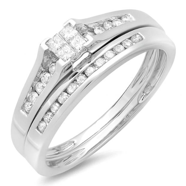 0.30 Carat (ctw) 10k White Gold Princess and Round Diamond Ladies Bridal Engagement Ring Set 1/3 CT