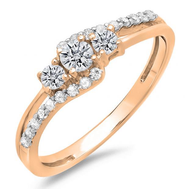0.45 Carat (ctw) 10K Rose Gold Round Diamond Ladies 3 Stone Bridal Engagement Promise Ring 1/2 CT