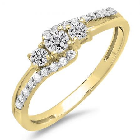 0.45 Carat (ctw) 10K Yellow Gold Round Diamond Ladies 3 Stone Bridal Engagement Promise Ring 1/2 CT