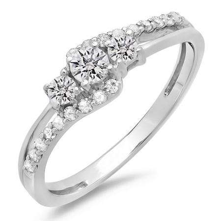 0.45 Carat (ctw) 14K White Gold Round Diamond Ladies 3 Stone Bridal Engagement Promise Ring 1/2 CT