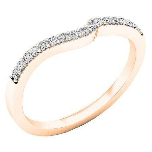 0.15 Carat (ctw) 10K Rose Gold Round Diamond Ladies Anniversary Wedding Contour Stackable Band