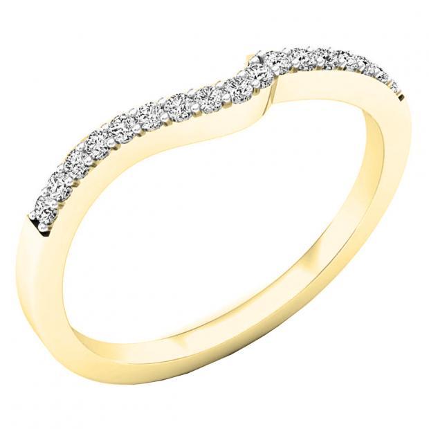0.15 Carat (ctw) 10K Yellow Gold Round Diamond Ladies Anniversary Wedding Contour Stackable Band