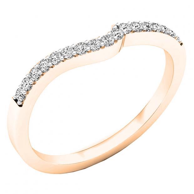 0.15 Carat (ctw) 14K Rose Gold Round Diamond Ladies Anniversary Wedding Contour Stackable Band