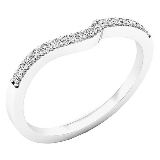 0.15 Carat (ctw) 14K White Gold Round Diamond Ladies Anniversary Wedding Contour Stackable Band