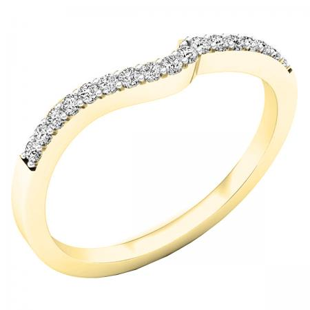 0.15 Carat (ctw) 18K Yellow Gold Round Diamond Ladies Anniversary Wedding Contour Stackable Band