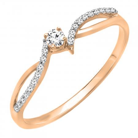 0.15 Carat (ctw) 18K Rose Gold Round Diamond Ladies Crossover Split Shank Bridal Promise Engagement Ring