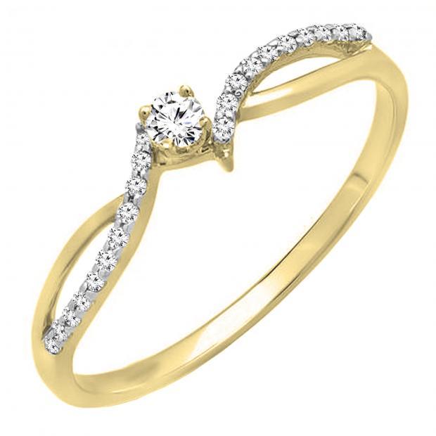0.15 Carat (ctw) 18K Yellow Gold Round Diamond Ladies Crossover Split Shank Bridal Promise Engagement Ring