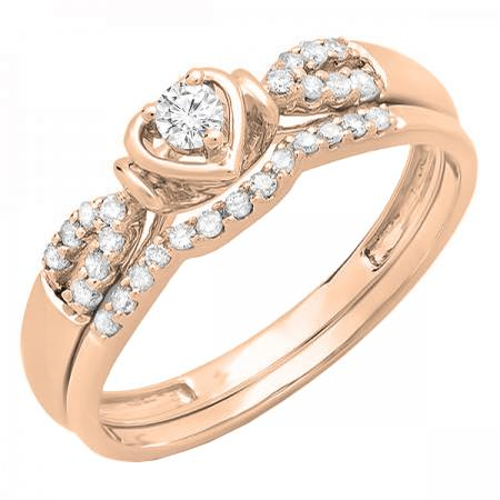 0.25 Carat (ctw) 10k Rose Gold Round Diamond Ladies Heart Shaped Bridal Engagement Ring Matching Band Set 1/4 CT