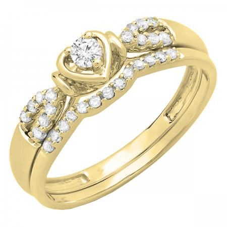 0.25 Carat (ctw) 14k Yellow Gold Round Diamond Ladies Heart Shaped Bridal Engagement Ring Matching Band Set 1/4 CT