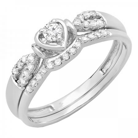 0.25 Carat (ctw) 18k White Gold Round Diamond Ladies Heart Shaped Bridal Engagement Ring Matching Band Set 1/4 CT