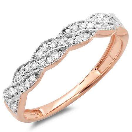 0.25 Carat (ctw) 10k Rose Gold Round Diamond Ladies Anniversary Wedding Stackable Band Swirl Ring 1/4 CT