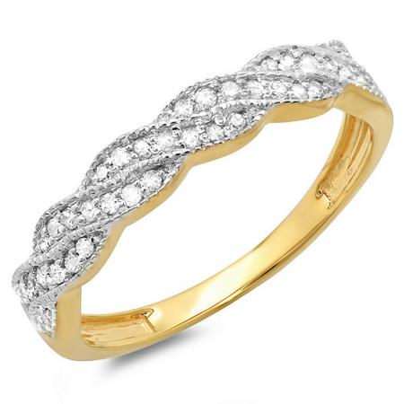 0.25 Carat (ctw) 18k Yellow Gold Round Diamond Ladies Anniversary Wedding Stackable Band Swirl Ring 1/4 CT