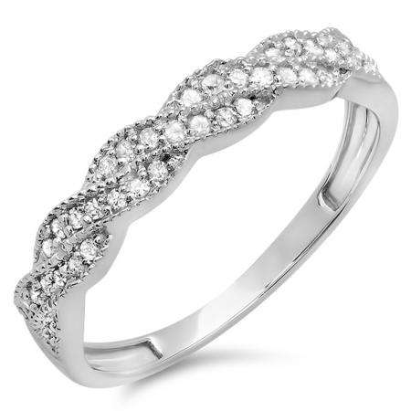 0.25 Carat (ctw) 14k White Gold Round Diamond Ladies Anniversary Wedding Stackable Band Swirl Ring 1/4 CT