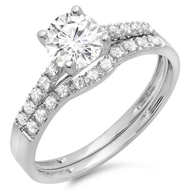 1.25 Carat (ctw) 14K White Gold Round White Diamond Ladies Bridal Engagement Ring Matching Band Wedding Sets 1 1/4 CT