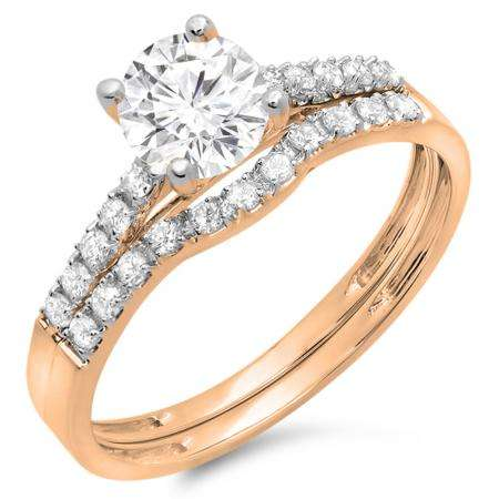 1.25 Carat (ctw) 18K Rose Gold Round White Diamond Ladies Bridal Engagement Ring Matching Band Wedding Sets 1 1/4 CT